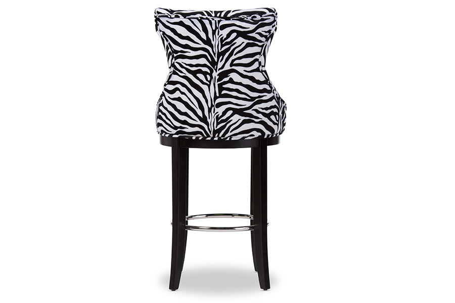 Peace Modern and Contemporary Bar Stool with Metal Footrest