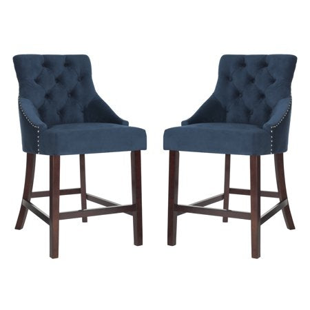 Safavieh Eleni Tufted Wing Back Counter Stools (Set of 2) - Available in Navy, Gray, Light Gray, Beige, Black or White