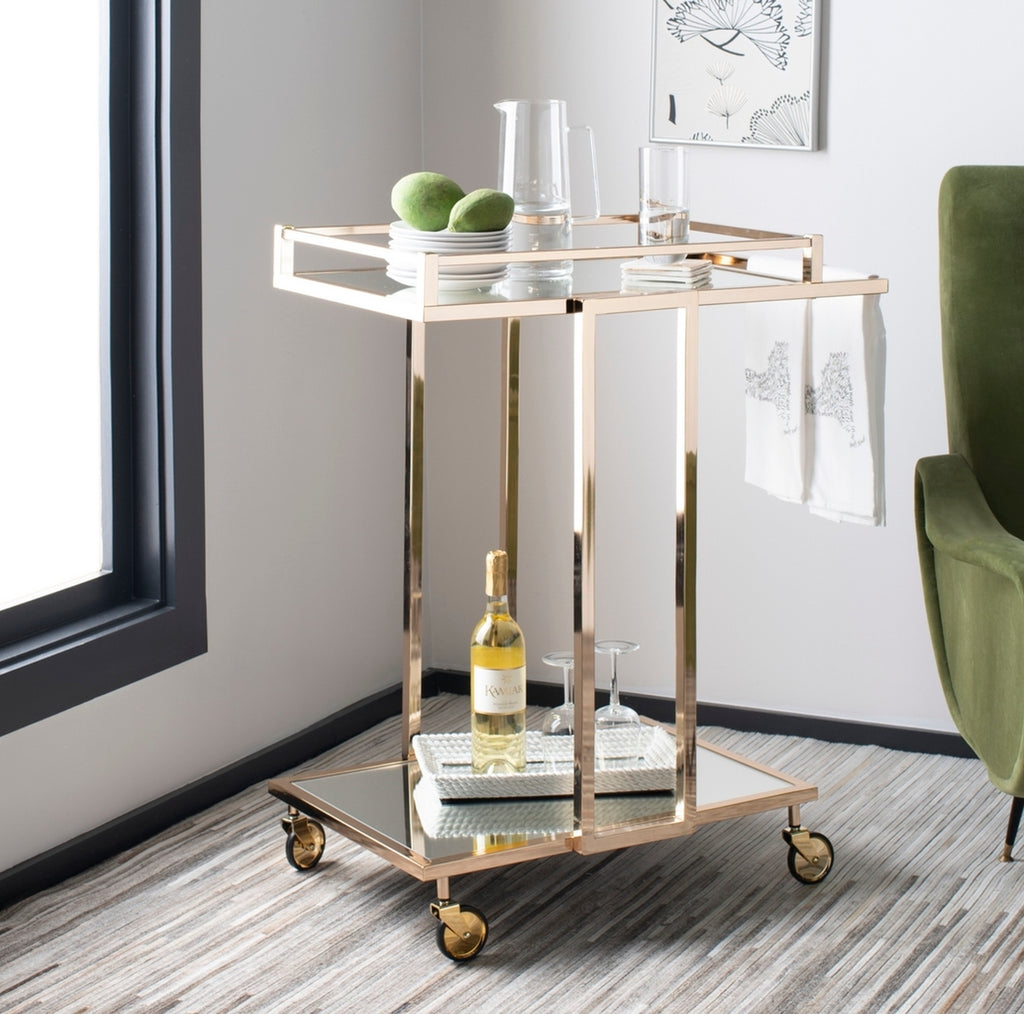 Safavieh Carpi 2 Tier Rectangle Bar Cart Lifestyle View