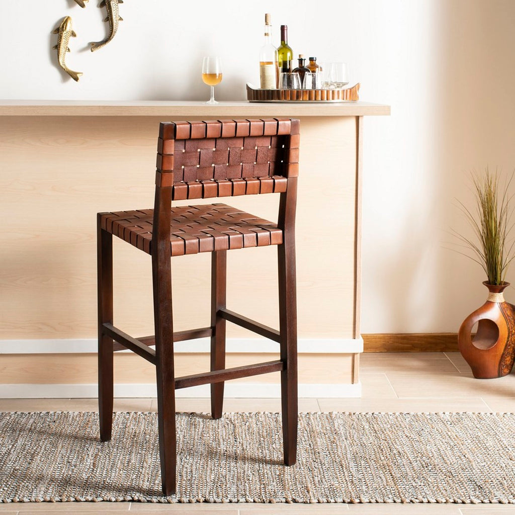 Safavieh Paxton Woven Leather Barstool Lifestyle View