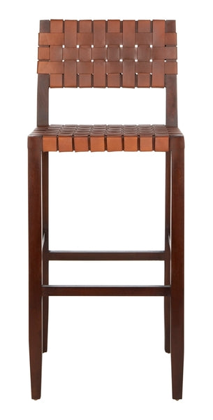 Safavieh Paxton Woven Leather Barstool Front View