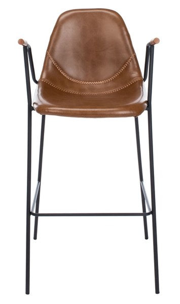 Safavieh Tanner Mid Century Barstool Cognac Front View