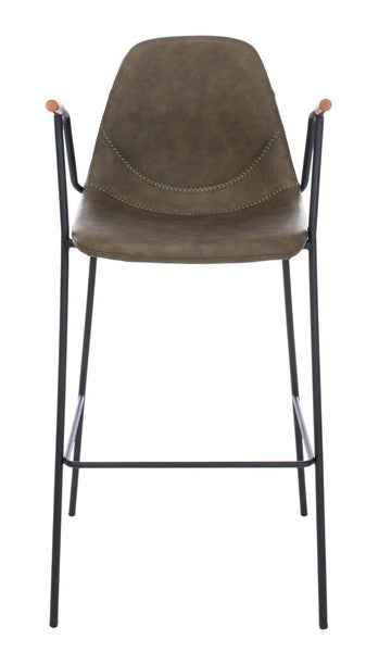 Safavieh Tanner Mid Century Barstool Olive Front  View