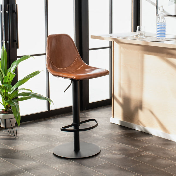 Safavieh Sky Adjustable Swivel Barstool - Cognac Lifestyle View
