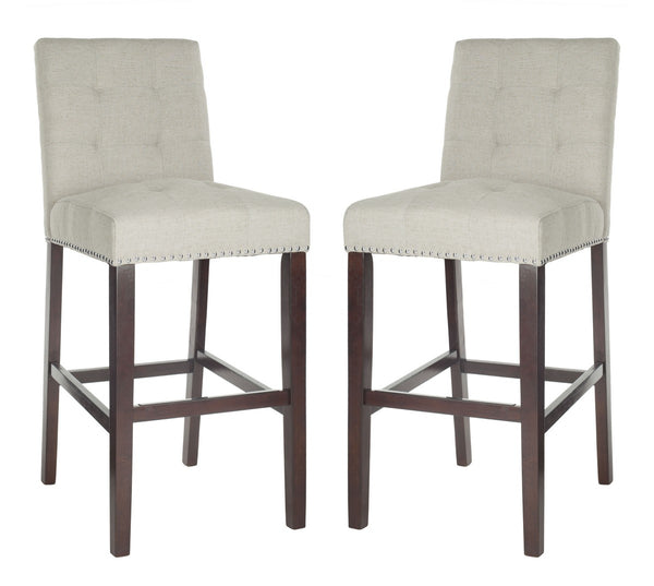 Safavieh Nikita Bar Stool (Set of 2) - Available in Light Gray, Navy, Beige, Brown