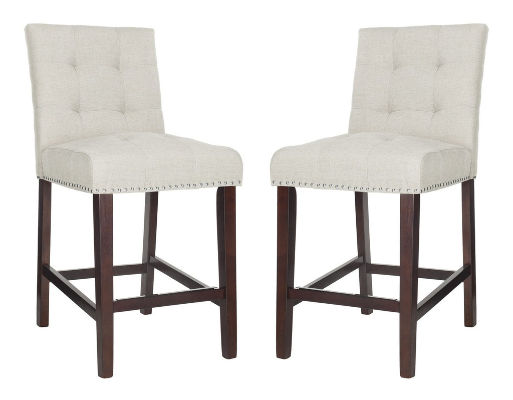 Nikita Counter Stool (Set of 2) Lt Gray Pair Front View