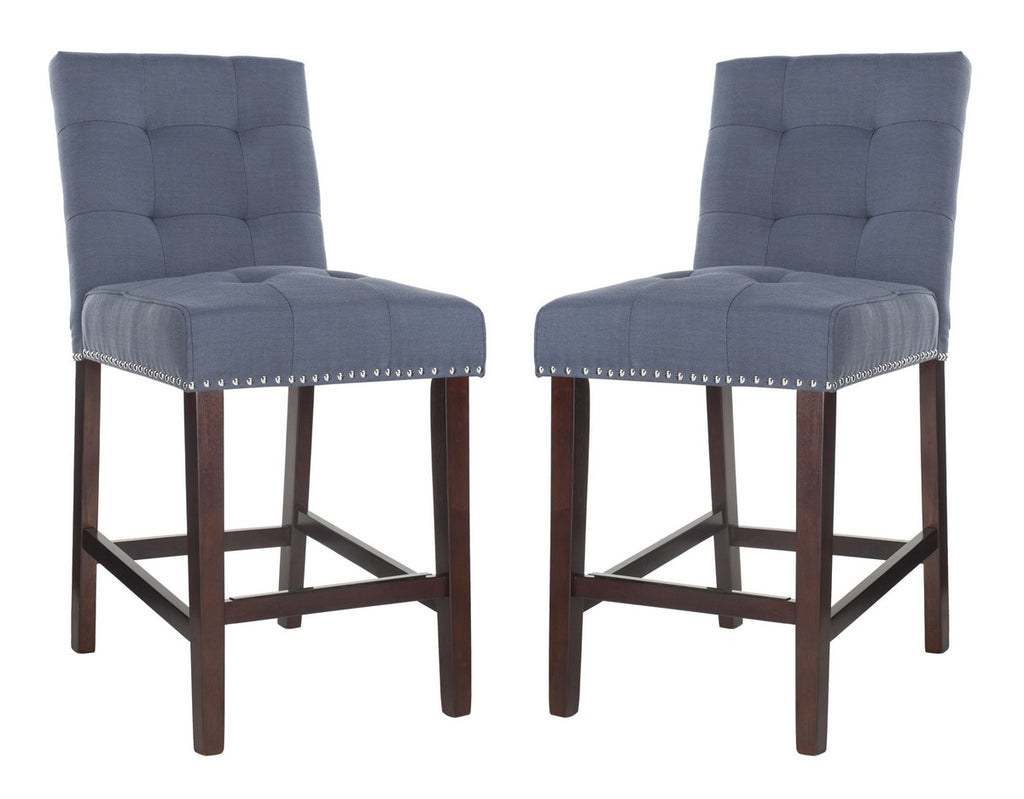 Nikita Counter Stool (Set of 2) Navy Blue Pair Front View