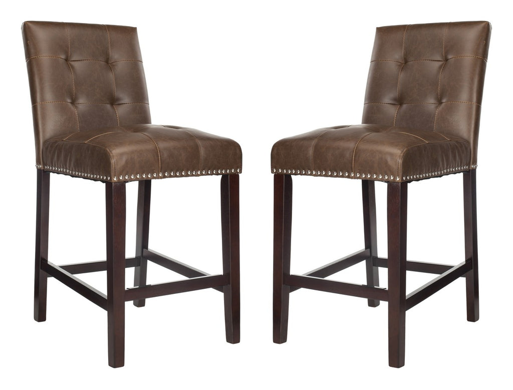 Nikita Counter Stool (Set of 2) Brown Pair Front View