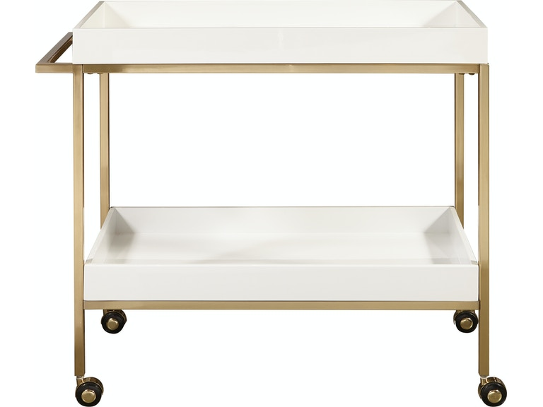 Gold White Bar Cart Side View