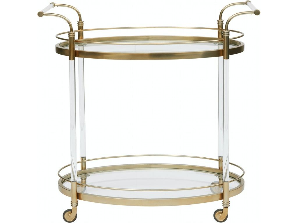 Pulaski Furniture Gold Acrylic Bar Cart Front View