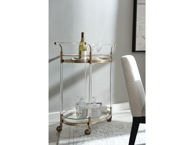 Pulaski Furniture Gold Acrylic Bar Cart Lifestyle View