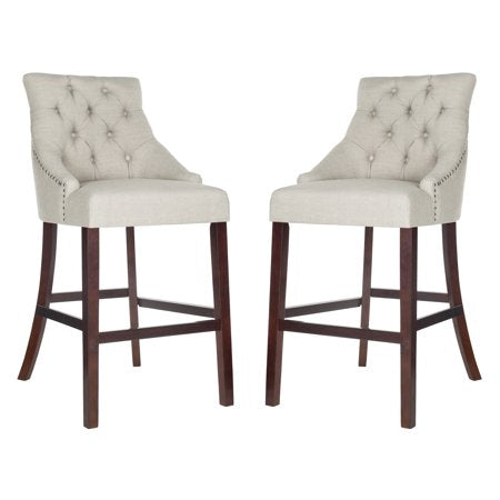 Eleni Tufted Wing Back Bar Stool Beige Front View
