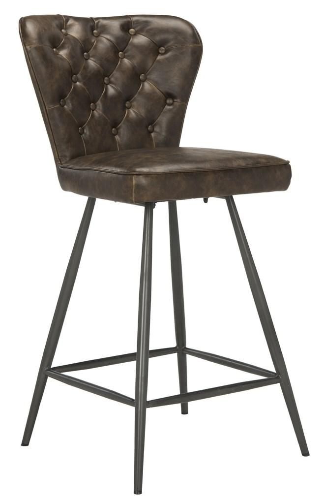 "Ashby 26""H Swivel Counter Stool (Set of 2) Brown Front Corner View"