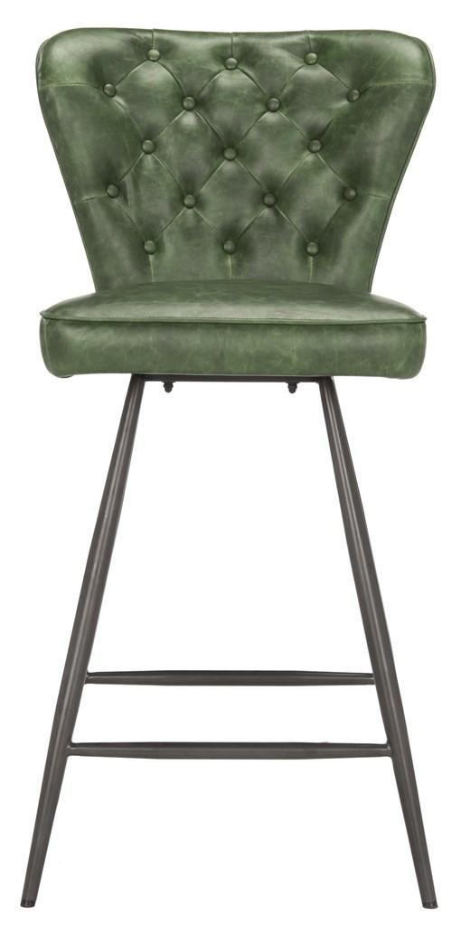 "Ashby 26""H Swivel Counter Stool (Set of 2) Green Front View"