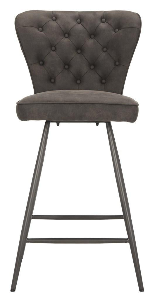 "Ashby 26""H Swivel Counter Stool (Set of 2) Gray Front View"