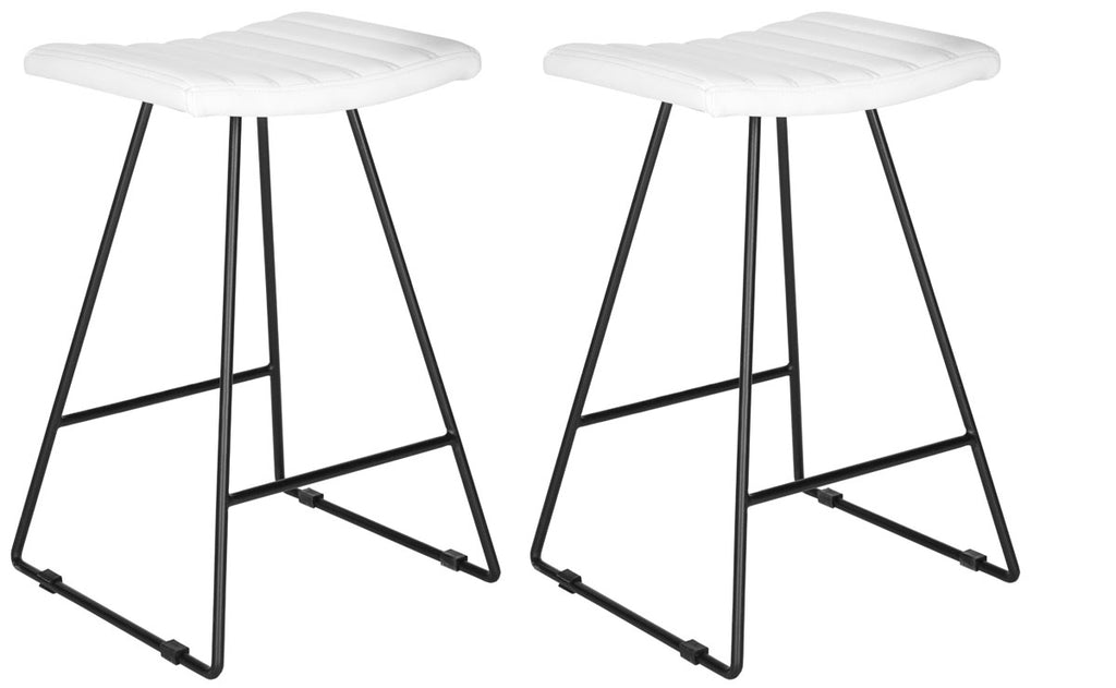 Akito Counter Stool (Set of 2) White Front Corner Pair View