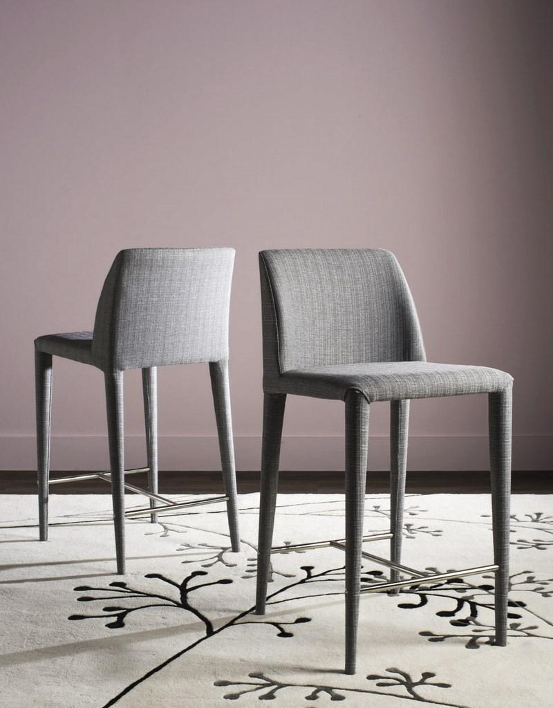 Garretson Counter Stool (Set of Two) Gray Linen Pair Front View