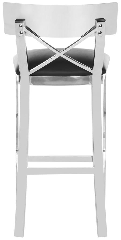 Safavieh Zoey Stainless Steel Cross Back Bar Stool - Available in Black or White