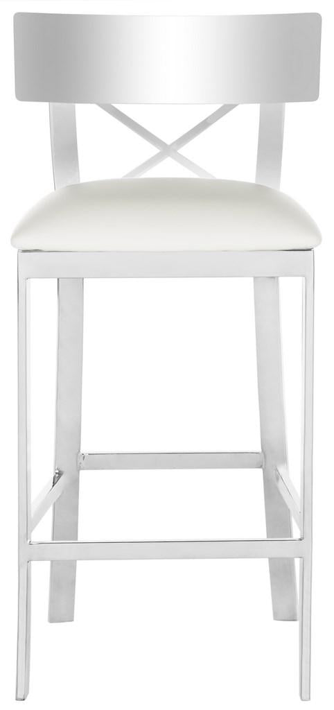 Safavieh Zoey Stainless Steel Cross Back Counter Stool - Available in Black or White