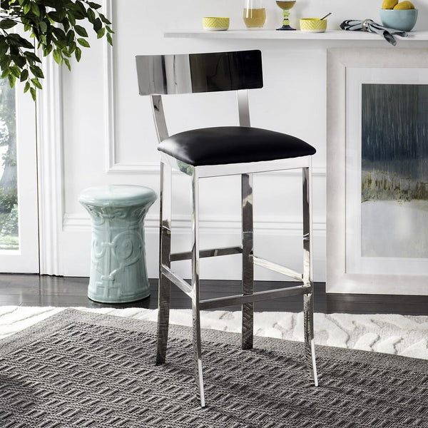 "Safavieh Abby's 39""H Stainless Steel Bar Stool Lifestyle View"