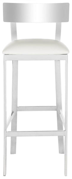 "Abby 39""H Stainless Steel Bar Stool White Front View"