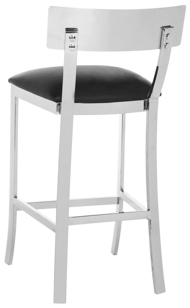 Abby Stainless Steel Counter Stool Black Back Corner View