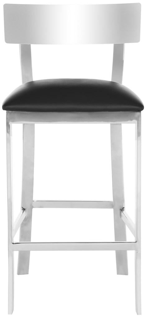 Abby Stainless Steel Counter Stool Black Front View