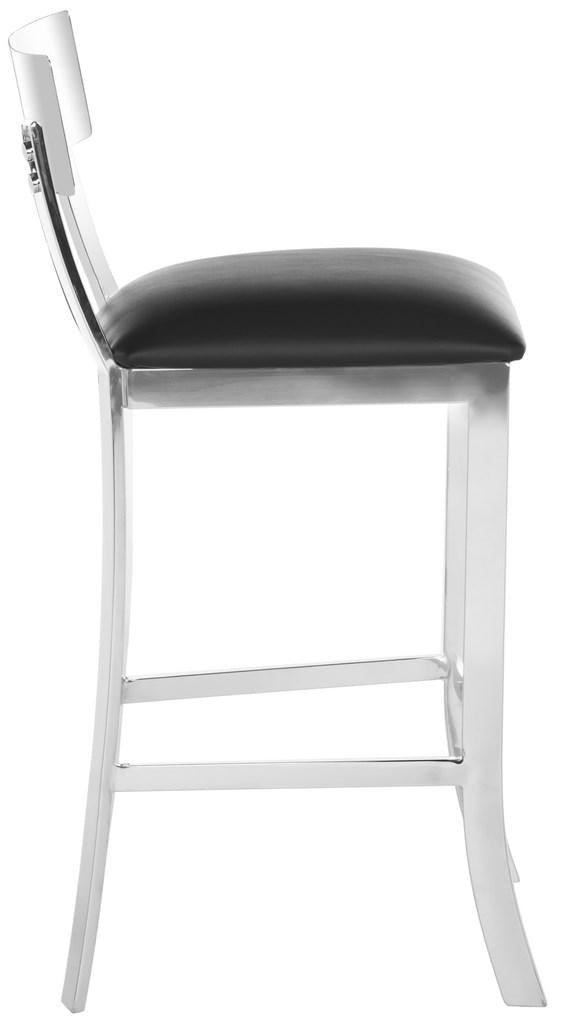 Abby Stainless Steel Counter Stool Black Side View