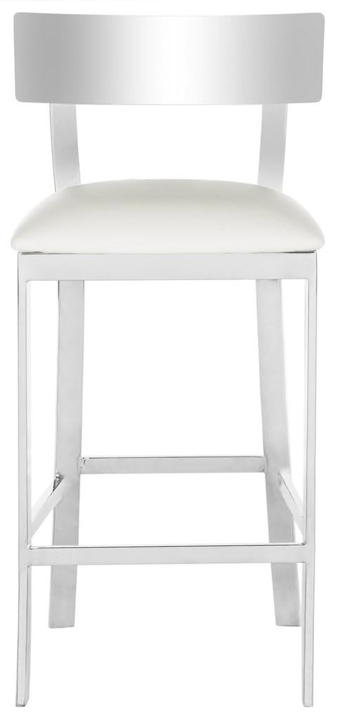 Abby Stainless Steel Counter Stool White Front View
