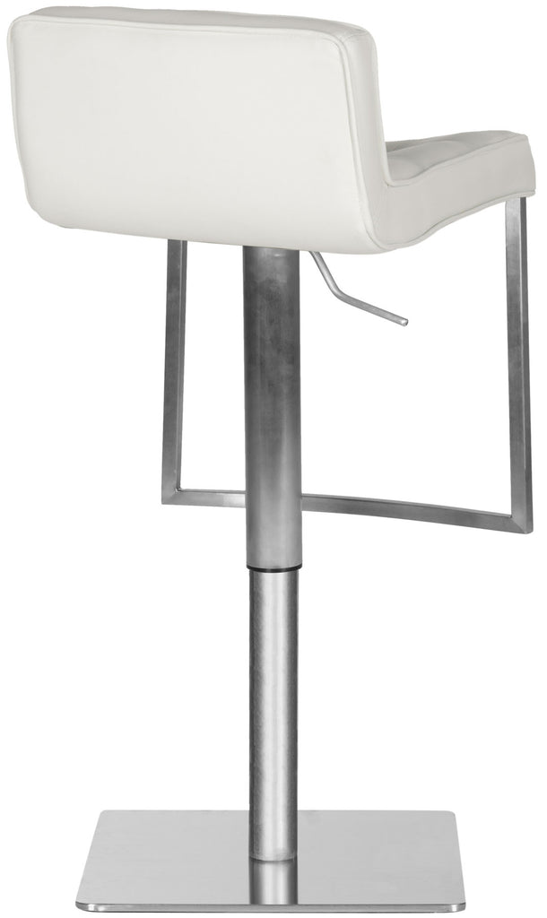 Newman Adjustable Swivel Bar Stool White Back View