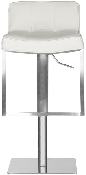 Newman Adjustable Swivel Bar Stool White Front View