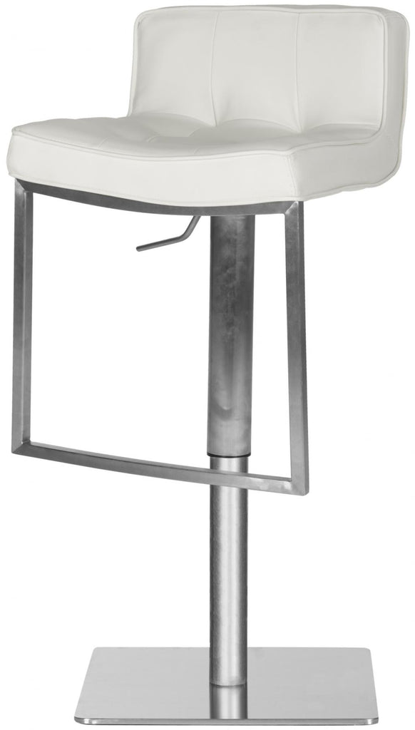 Newman Adjustable Swivel Bar Stool White Corner View