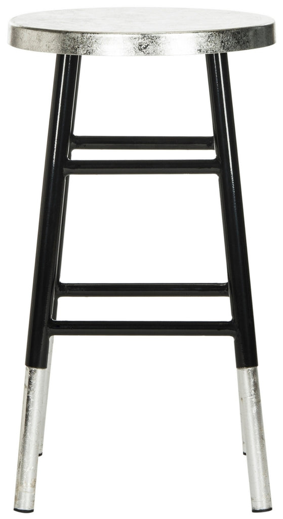 Kenzie Silver Dipped Counter Stool Black Front View
