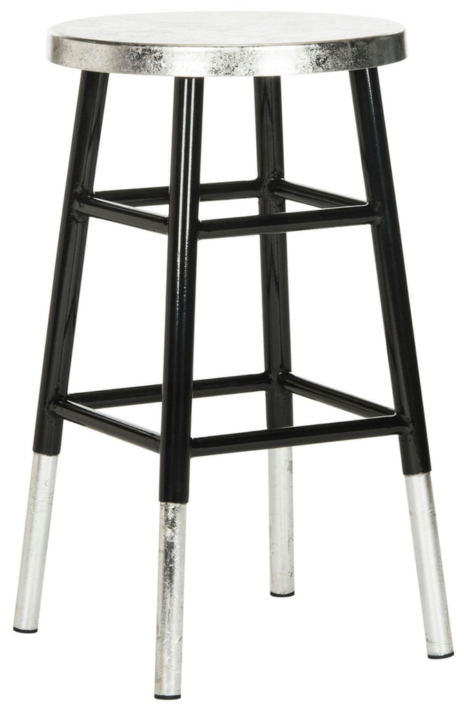 Kenzie Silver Dipped Counter Stool Black Front Corner View