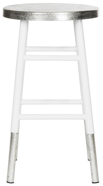 Kenzie Silver Dipped Counter Stool White Front View