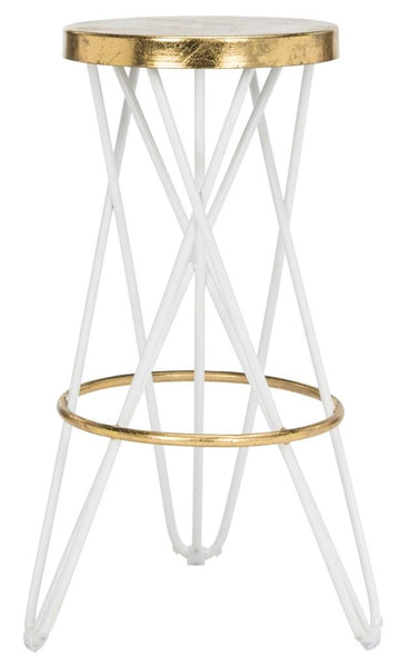 Safavieh Lorna Gold Leaf Bar Stool White Front View