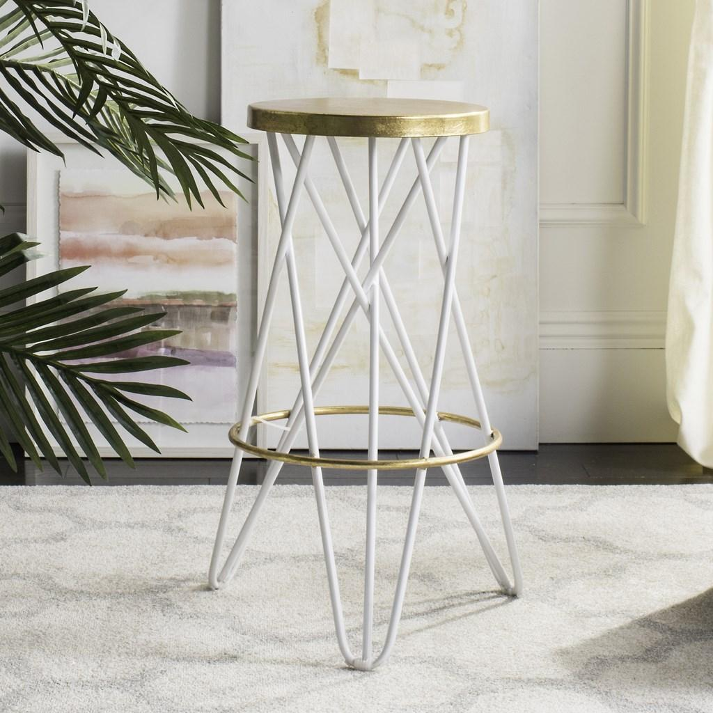Safavieh Lorna Gold Leaf Bar Stool White Lifestyle View