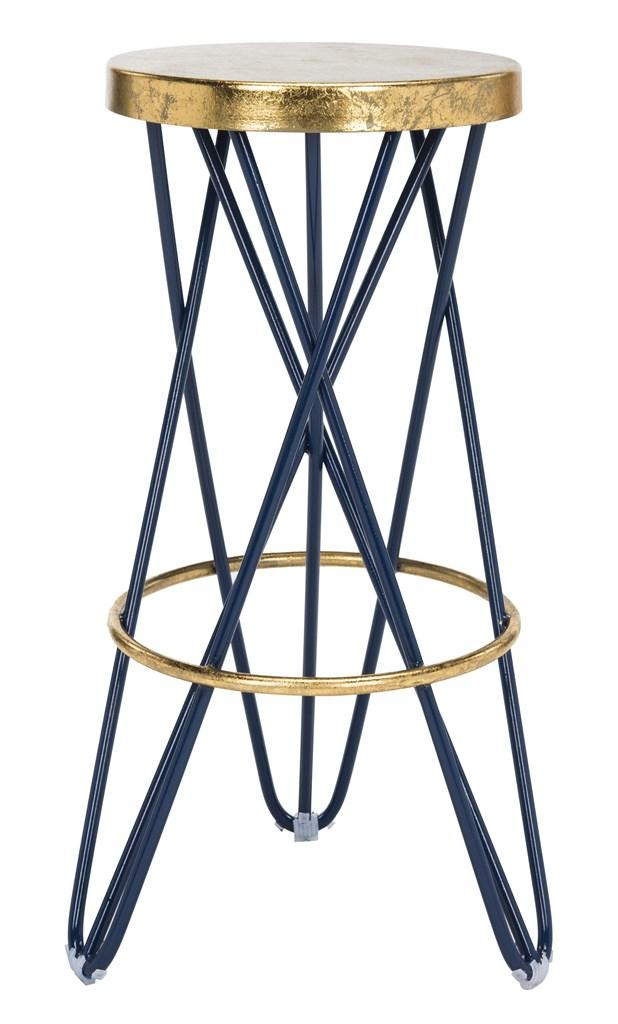 Safavieh Lorna Gold Leaf Bar Stool Navy Blue Front View