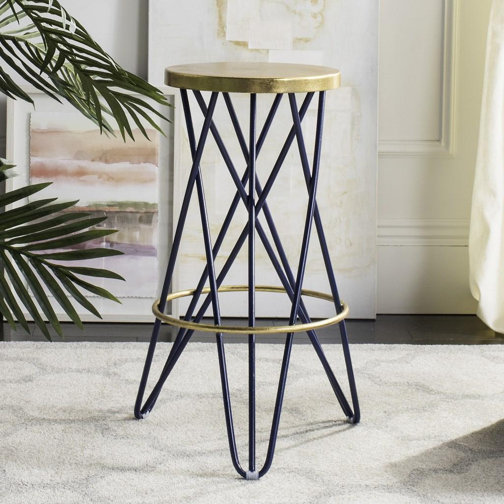 Safavieh Lorna Gold Leaf Bar Stool Navy Lifestyle View