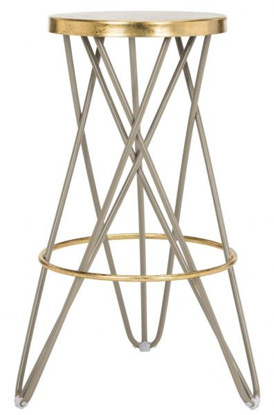 Safavieh Lorna Gold Leaf Bar Stool Navy Beige Front View