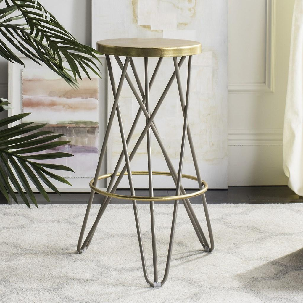 Safavieh Lorna Gold Leaf Bar Stool Beige Lifestyle View