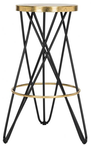 Safavieh Lorna Gold Leaf Bar Stool Black Front View