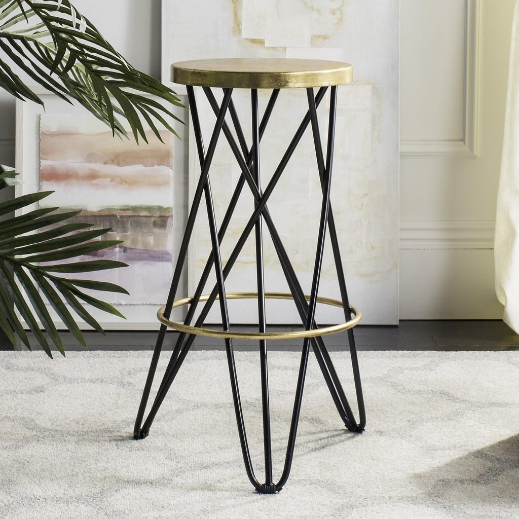 Safavieh Lorna Gold Leaf Bar Stool Black Lifestyle View
