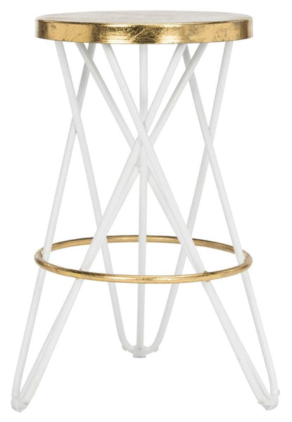 Lorna Gold Leaf Counter Stool White Front View