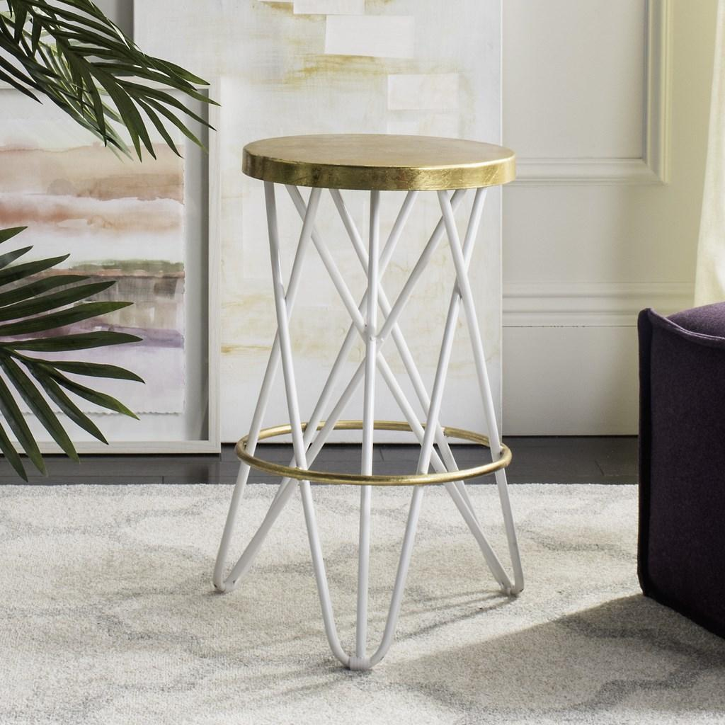 Lorna Gold Leaf Counter Stool White Live View