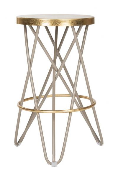 Lorna Gold Leaf Counter Stool Beige Front View