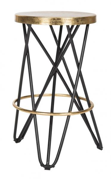 Lorna Gold Leaf Counter Stool Black Front View