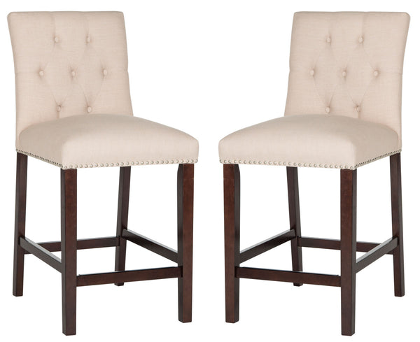 Norah Counter Stool (Set of 2) Pair Beige Front View