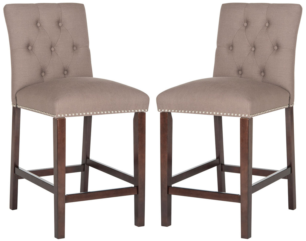 Norah Counter Stool (Set of 2) Pair Dark Taupe Front View