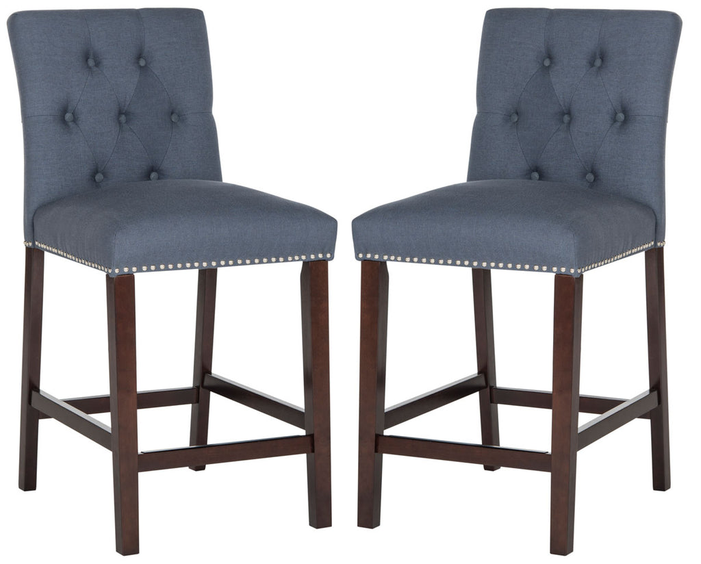 Norah Counter Stool (Set of 2) Navy Blue Front View